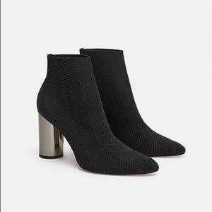 Black Zara boots with metallic heel